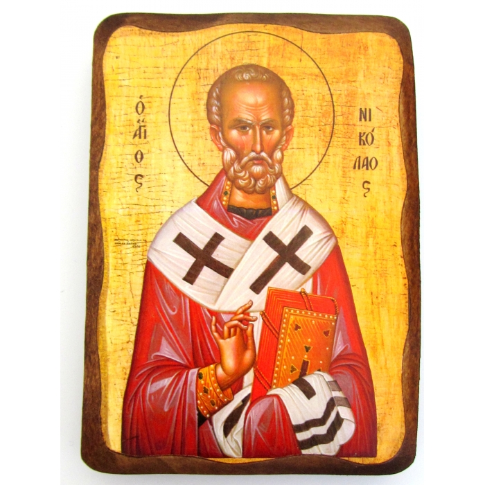 WOODEN ICON 1AP SAINT NICHOLAS